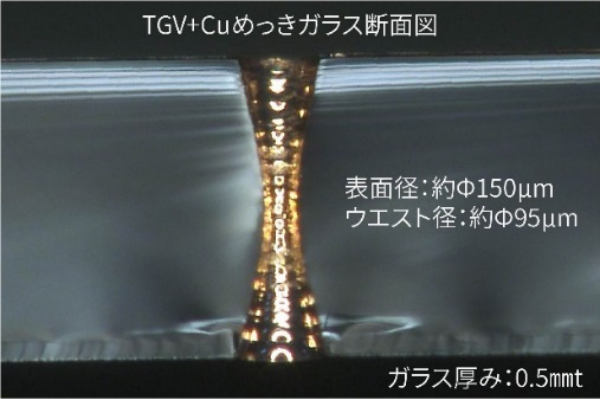 TGV+Cuめっきガラス断面図